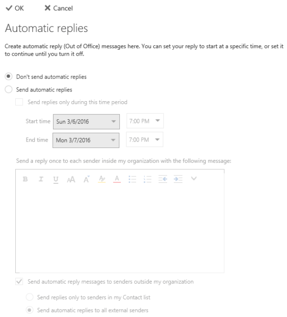 Enable Out of Office Shared Mailbox - Shared Mailbox OoF - details