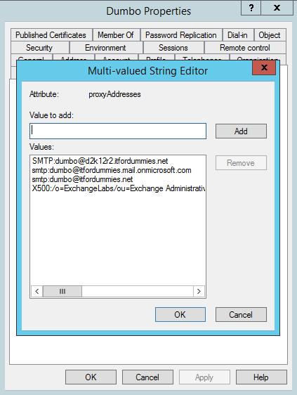 Add Alias Exchange Online - Before
