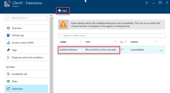Add Anti-Malware AzureRM IaaS VM - GUI