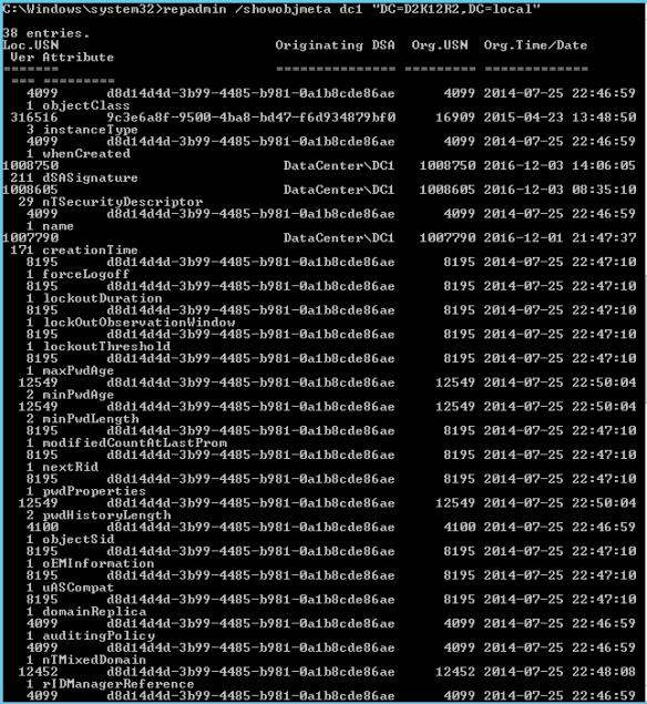 Active Directory Metadata PowerShell - Repadmin DefaultNamingContext