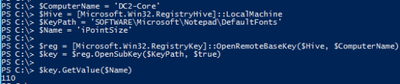 Edit Remote Registry Key PowerShell - Before