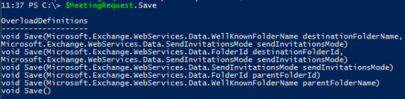 Meeting Request Exchange Web Services PowerShell - Saving Overloads