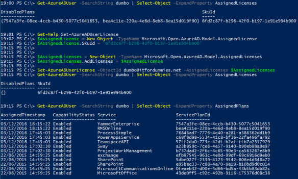 Office 365 License Option PowerShell - AzureAD Set License