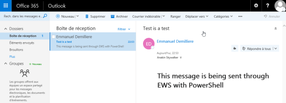 Send email Exchange Web Services PowerShell - Mail Sent