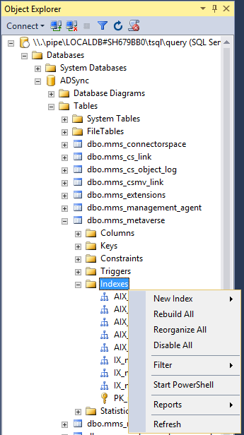 Manage LocalDB AAD Connect SQL Database -Rebuild Indexes