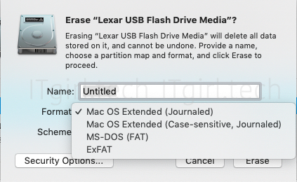 Screenshot of the formats available on the macOS Disk Utility tool: Mac OS Extended (Journaled), Mac OS Extended (Case-sensitive, Journaled), MS-DOS (FAT32 format), ExFAT