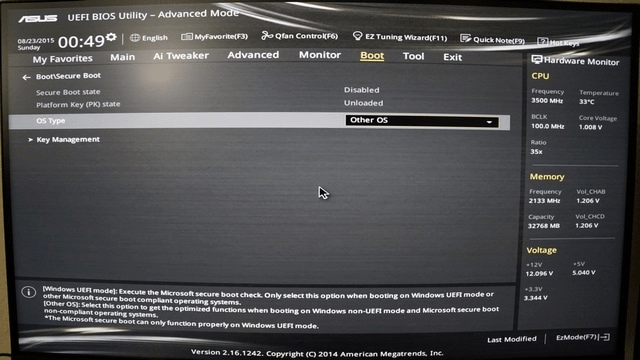 ASUS UEFI - Disable secure boot on Windows 10