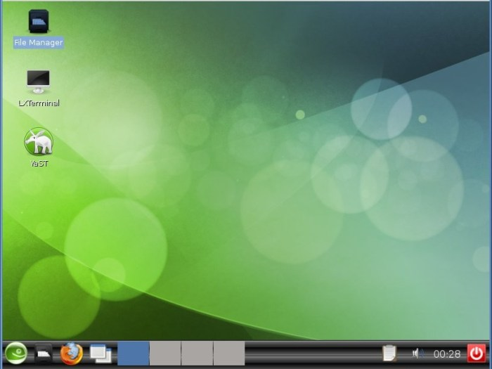 Picture showing the stock LXDE desktop environment