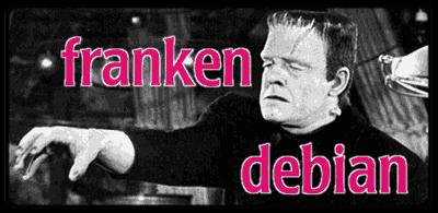 """Picture of Frankenstein with the words """"franken debian"""" written over it."""