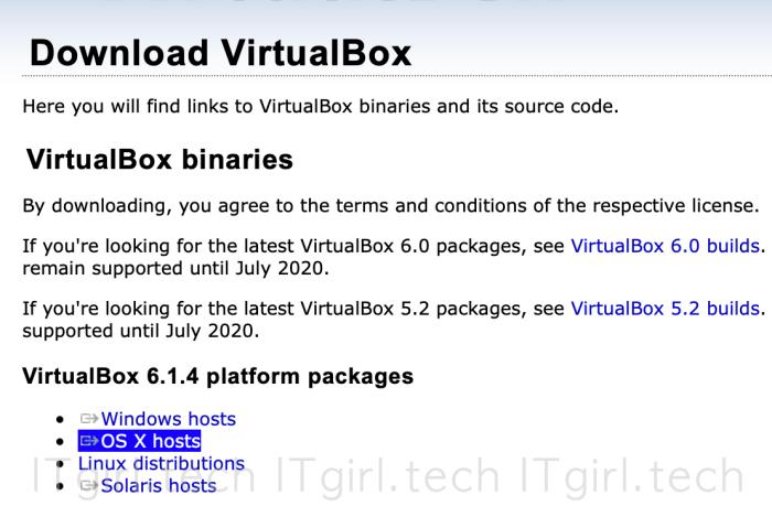 "Download VirtualBox - make sure to select ""OS X hosts"""