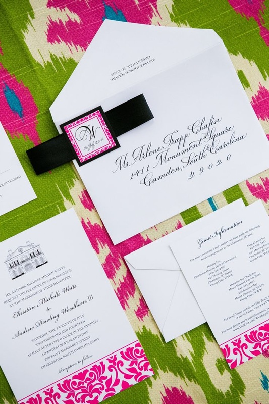 White Green And Pink Wedding Invitations