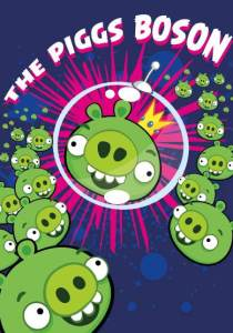 Picture of Angry Birds pigs in space with the title The Piggs Boson