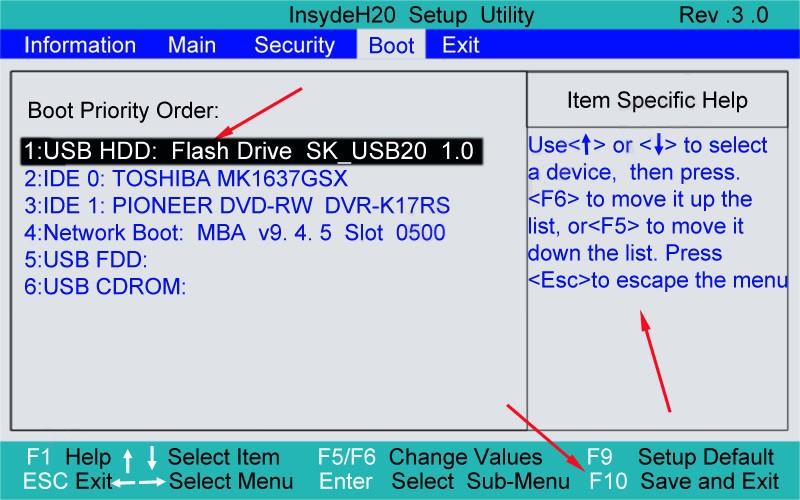 شما می توانید اولویت لازم برای دانلود دستگاه ها را در BIOS در برگه بوت با استفاده از فلش یا دکمه F5-F6 تنظیم کنید