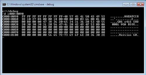Debug.exe консолі қосымшасы BIOS параметрлерін 32 биттік Windows ОЖ-да жұмыс істеген кезде қалпына келтіруге мүмкіндік береді