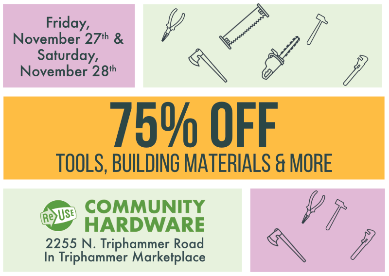 75% Off Sale At ReUse Community Hardware This Friday and Saturday!