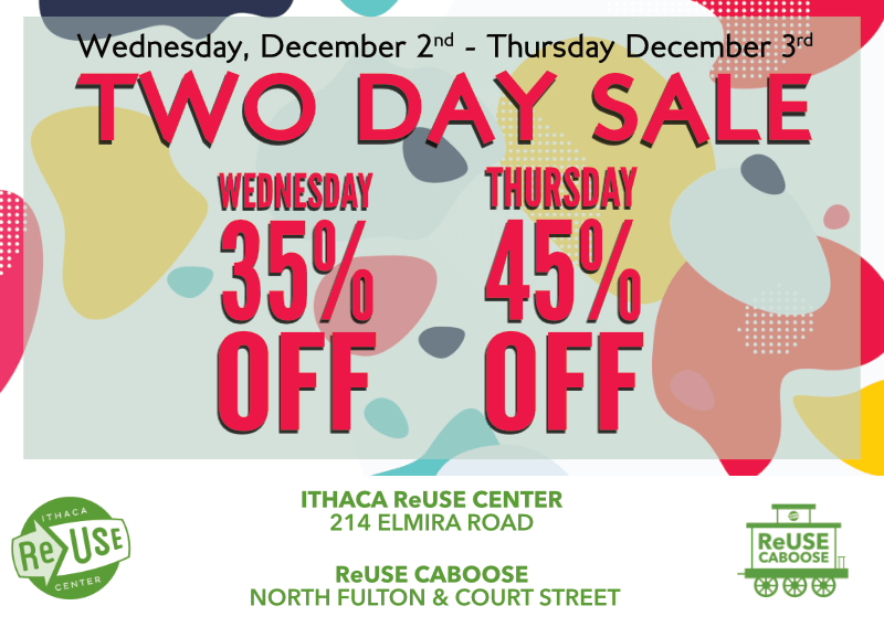 Two Day Sale At Ithaca ReUse Center and The ReUse Caboose!