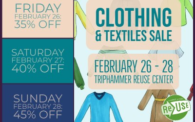 Clothing & Textiles Sale At Triphammer ReUse Center Begins Today!