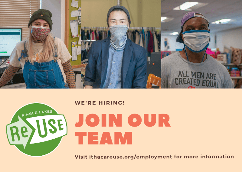 Finger Lakes ReUse is hiring! Positions now open for Retail Assistants