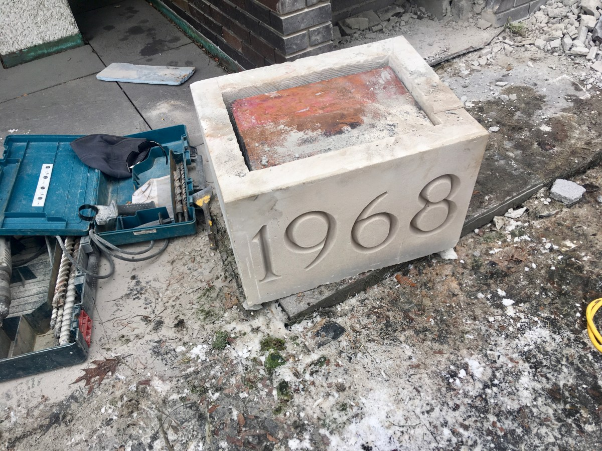 Time capsule at site of old Ithaca public library.
