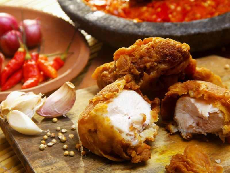 sliced fried chicken
