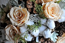 Autumn Fall Wedding Flower Bouquet Burlap Pinecone Rose Hydrangea Moss Grey Ivory White Brown 3