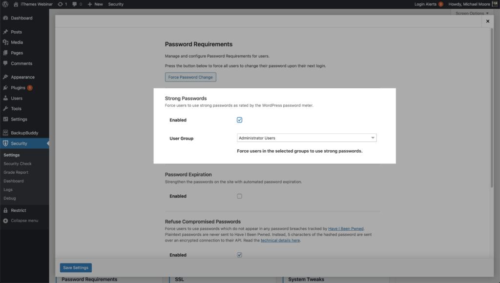 WordPress Security Strong Password Settings