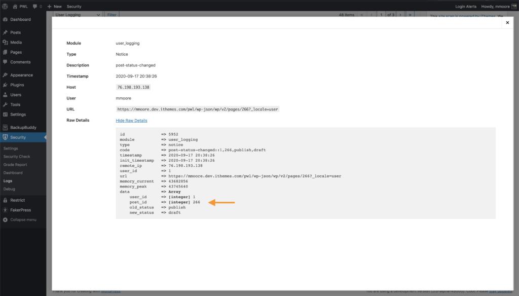 WordPress Security User Logging Post Changes