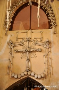 A cross of bones in the Sedlec Ossuary/Bone Chapel in Kutna Hora