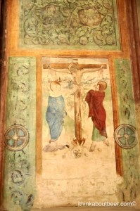 A crucifixion fresco in a private chapel in St Barbara Church in Kutna Hora