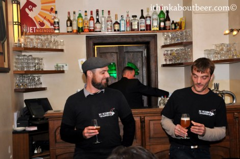 Manuel Mengoni and Maxime Dumay discussing their brewery and beer.