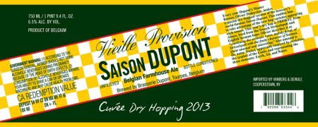 Saison Dupont Cuvee Dry Hopping 2013