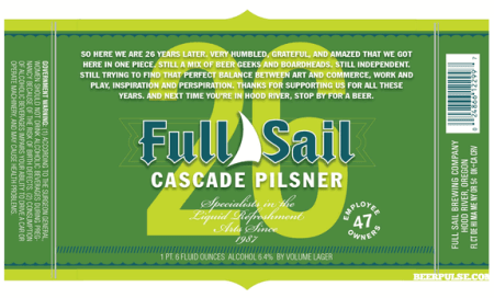 "Full Sail ""26"" Cascade Pilsner"