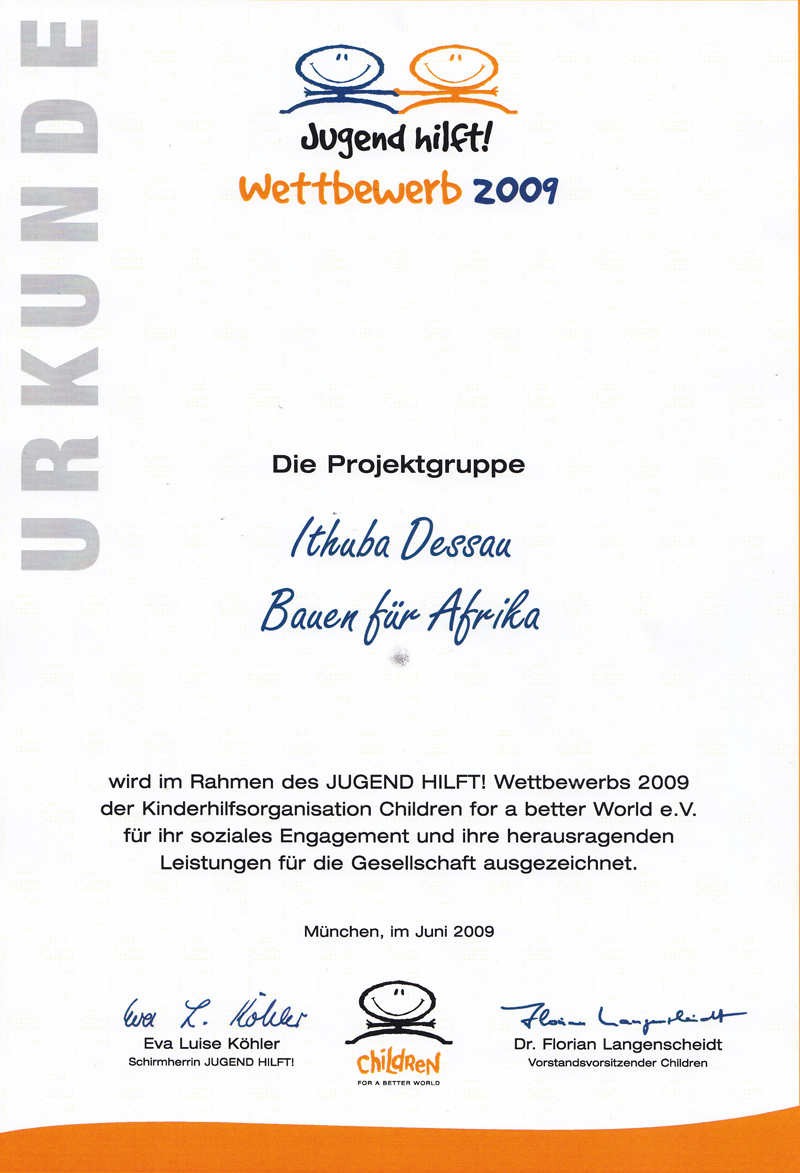 Jugend Hilft! - Urkunde