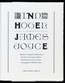 The titlepage to FINN'S HOTEL, designed and printed by Michael Caine (Ithys Press, 2013)