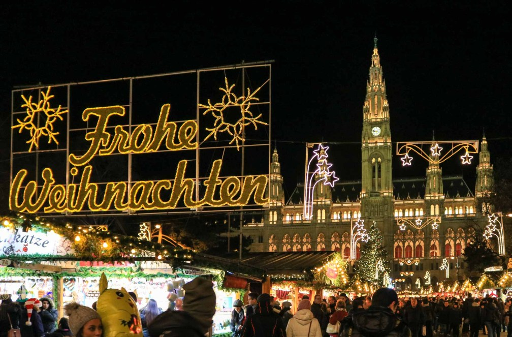 Rêve de Noël Rathausplatz nuit