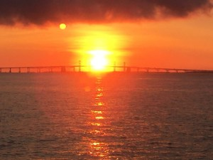 Sunrise, Moonset Bay Bridge