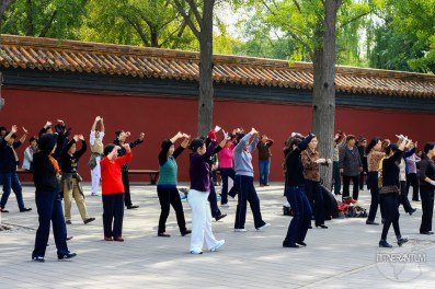Early morning exercises in Jingshang Park, Beijing