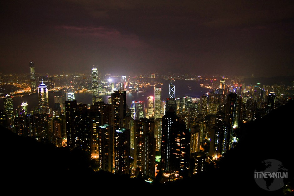 view of Hong Kong skyline by night from Victoria Peak