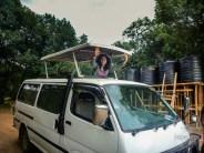 safari car with the top up