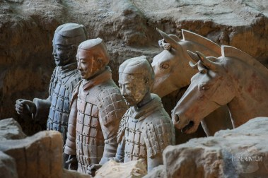 Terracotta soldiers together with their war horses