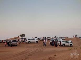 cars before a desert safari in dubai