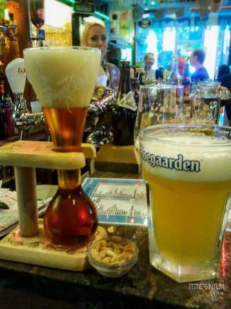 beer glasses in a belgium bar