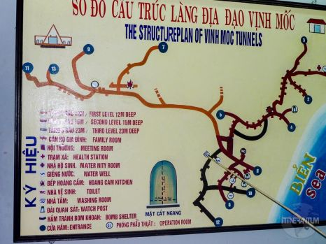 Map of the Vinh Moc tunnels, vietnam