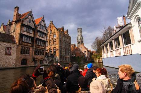 view from the boat in bruges