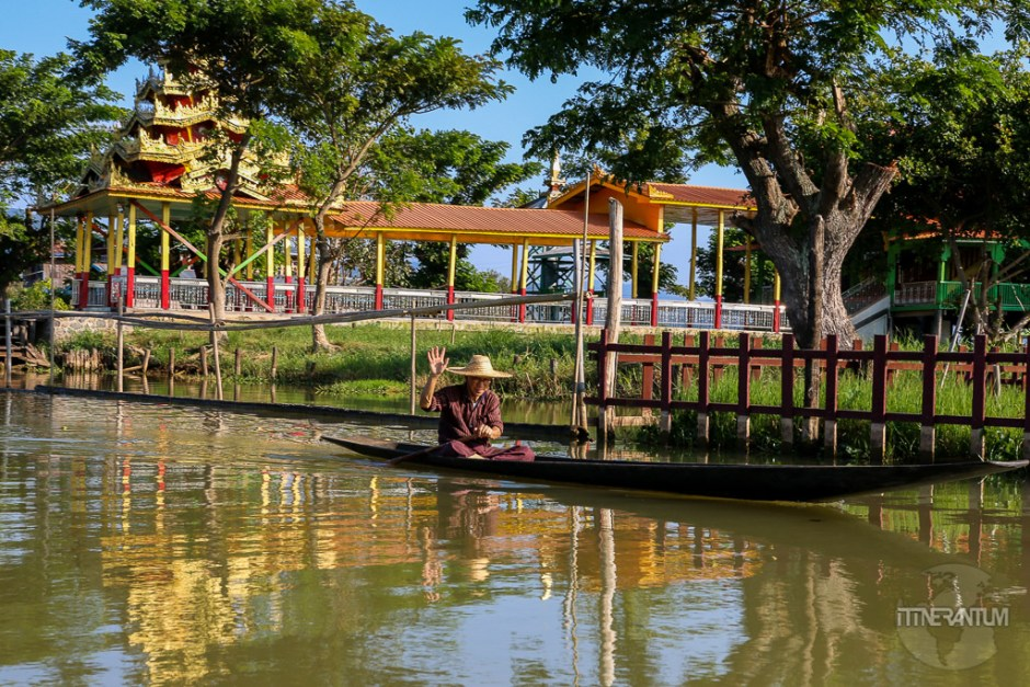 Peaceful moment on Inle Lake canals, people of myanmar