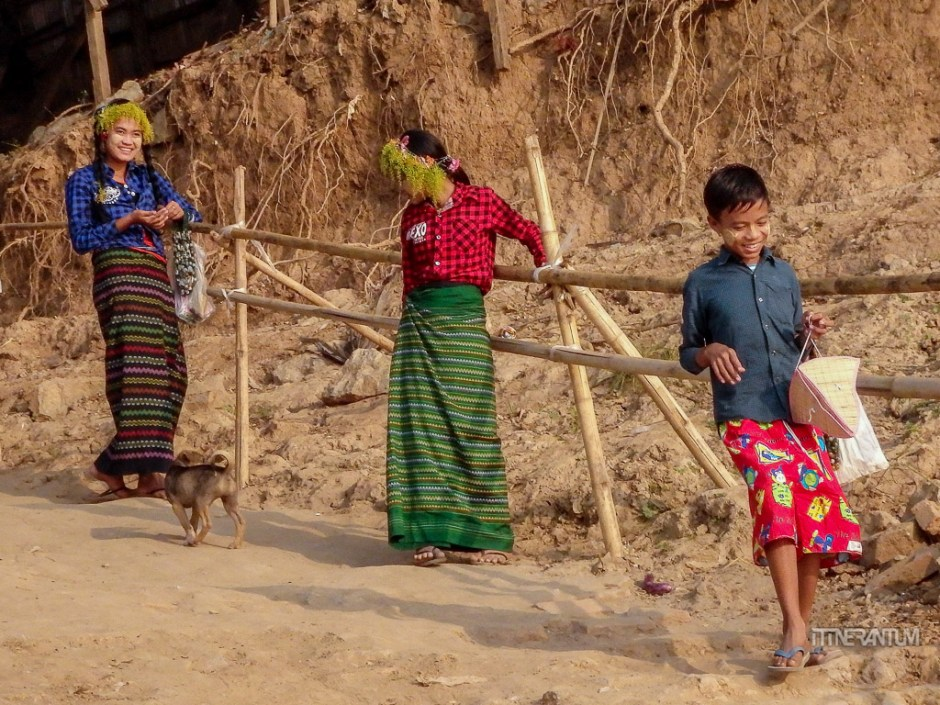 Villagers waiting for the boat, people of myanmar