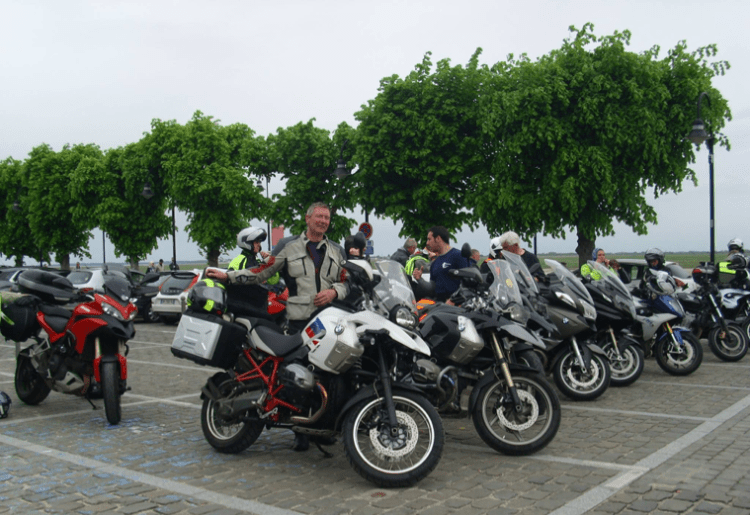 Photo of all the bikes parked for lunch time