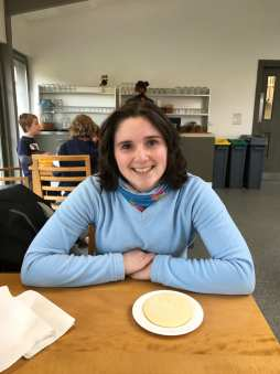 Natalia about to enjoy the famous National Trust shortbread