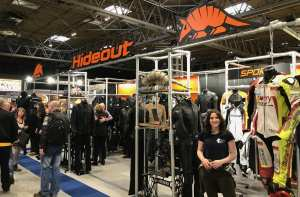 Natalia at Hideout's stand at the Motorcycle Show