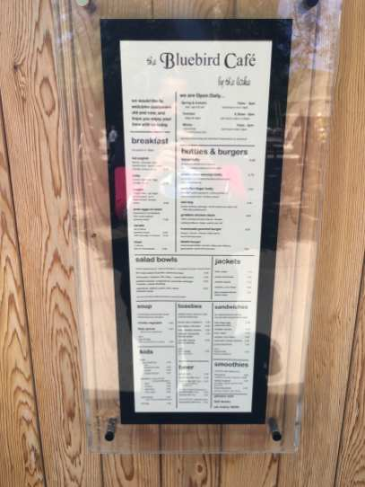 The Bluebird Cafe menu